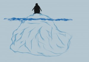independent penguin on iceberg